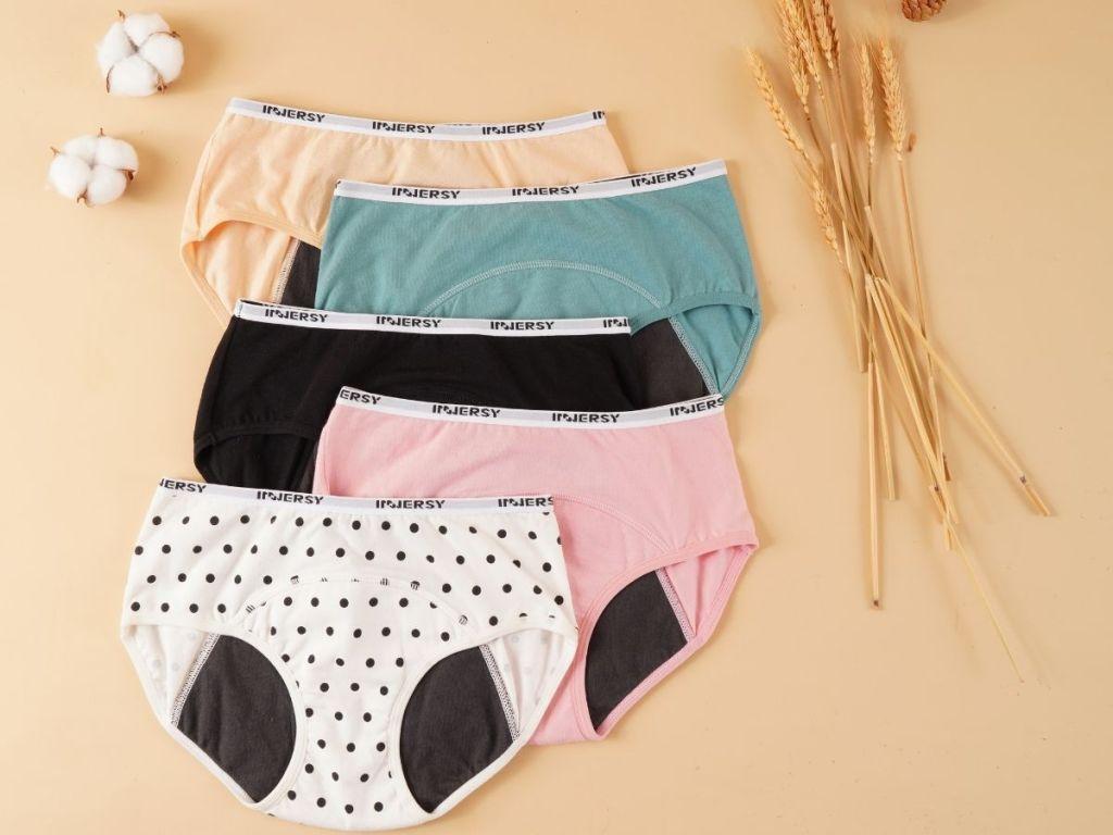 five pairs of teen period panties