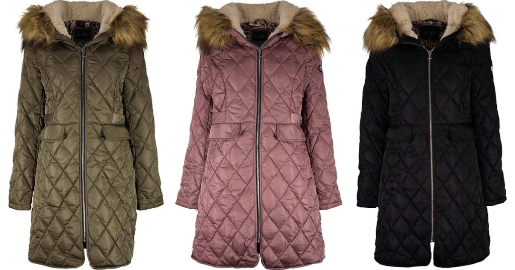 three quilted jackets in olive green, dusty rose, and black colors