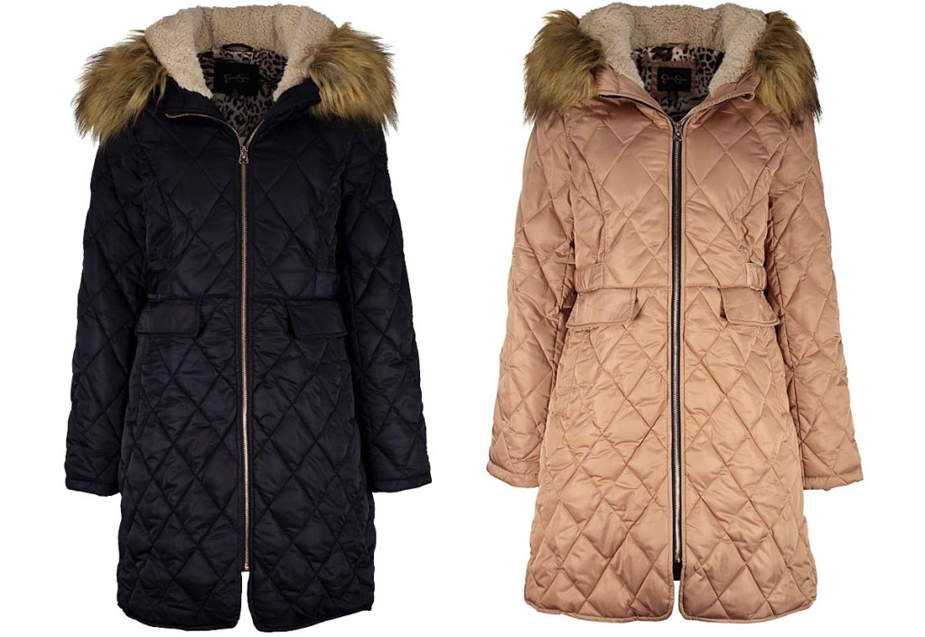 two quilted jackets in black and tan colors