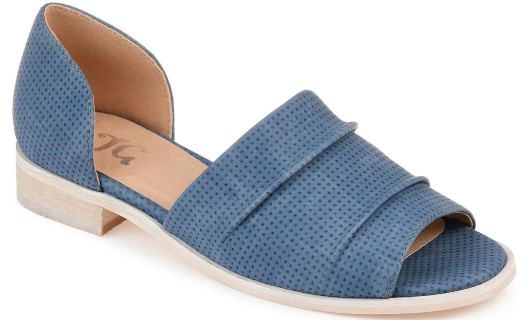 blue and tan sandal