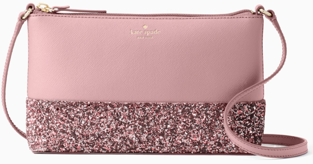 Kate Spade pink glitter crossover bag