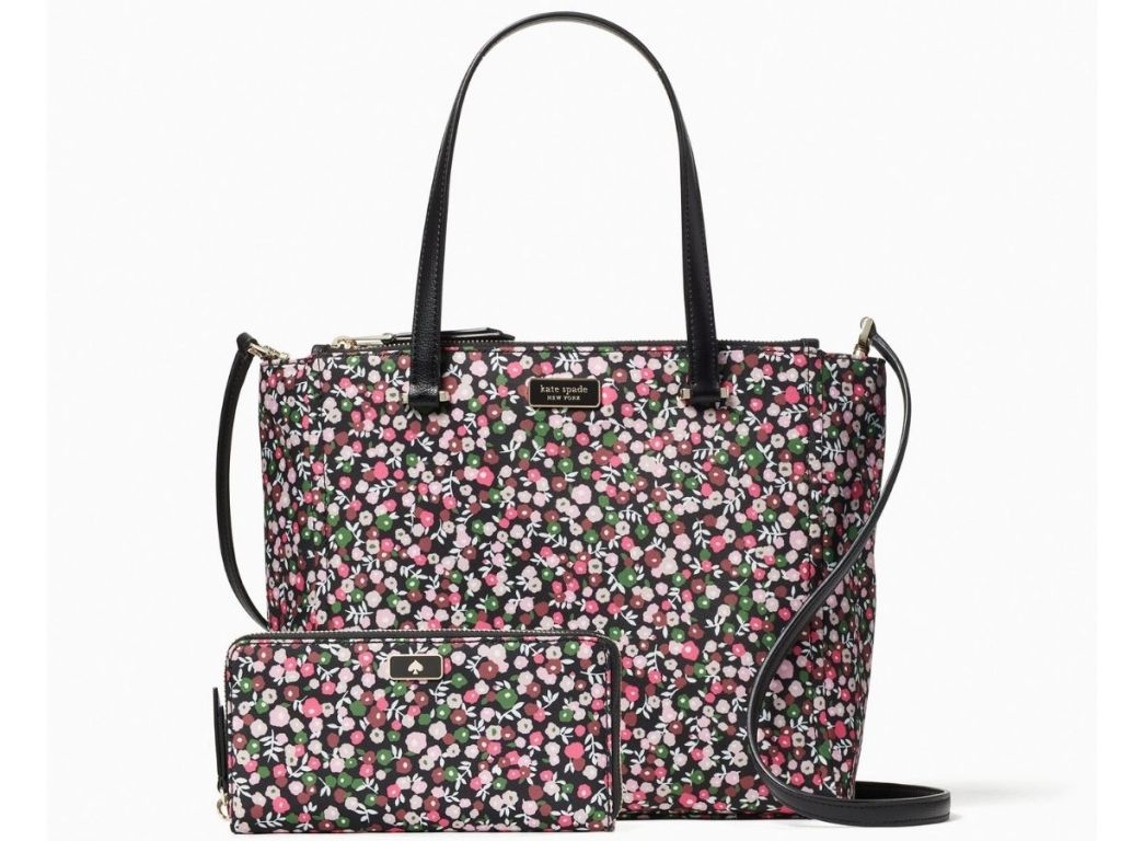 floral tote bag and wallet