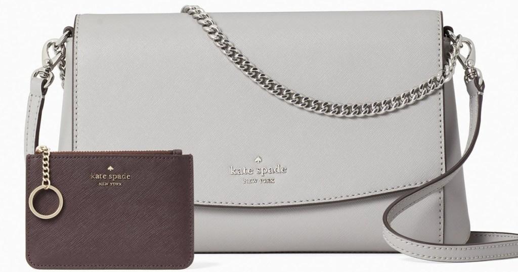 gray kate spade crossbody bag and brown wallet