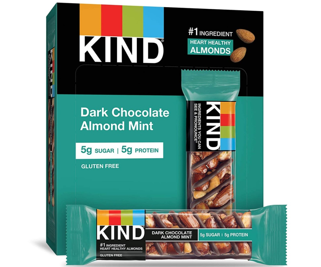 box of dark chocolate almond mint bars and individual bar