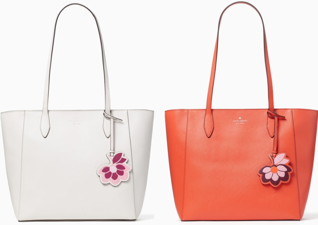 Two Spring tote bags side by side