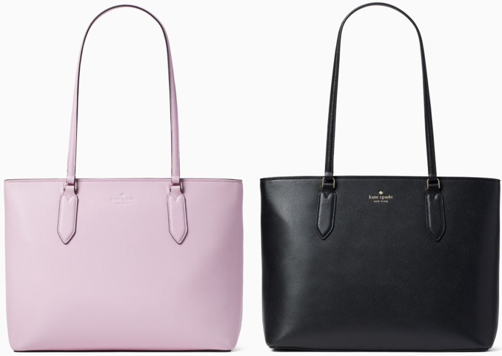 Two colors of a large tote bag - lavender and black