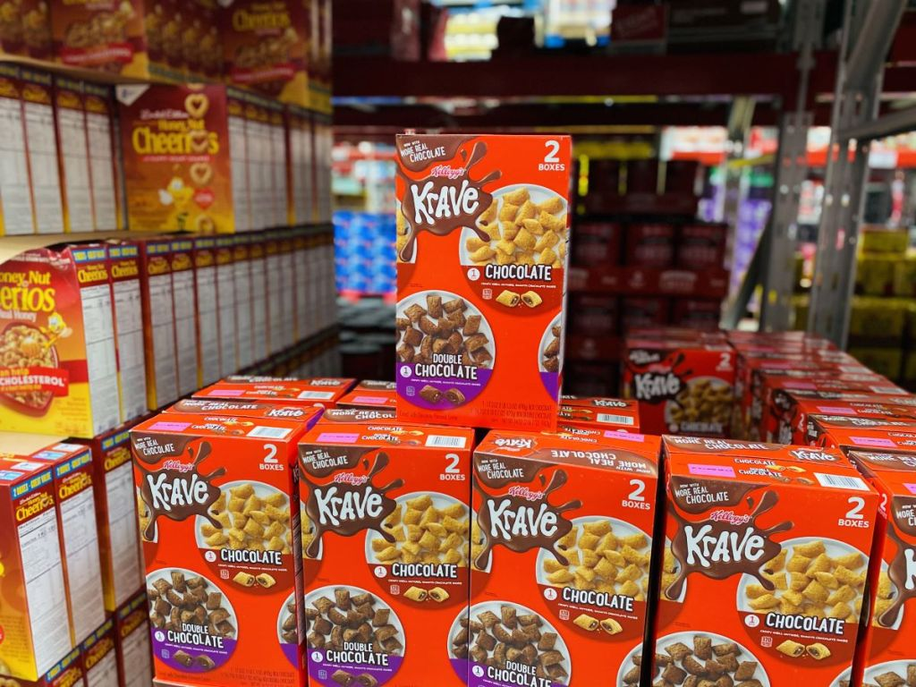 boxes of Kellogg's Krave Cereal at Sam's Club