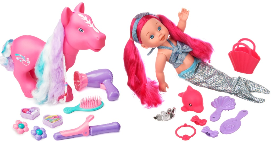 pink pony and mermaid baby doll playset