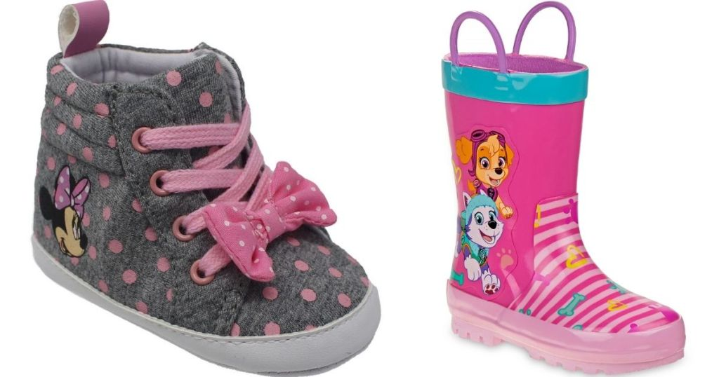 baby sneaker and a rain boot