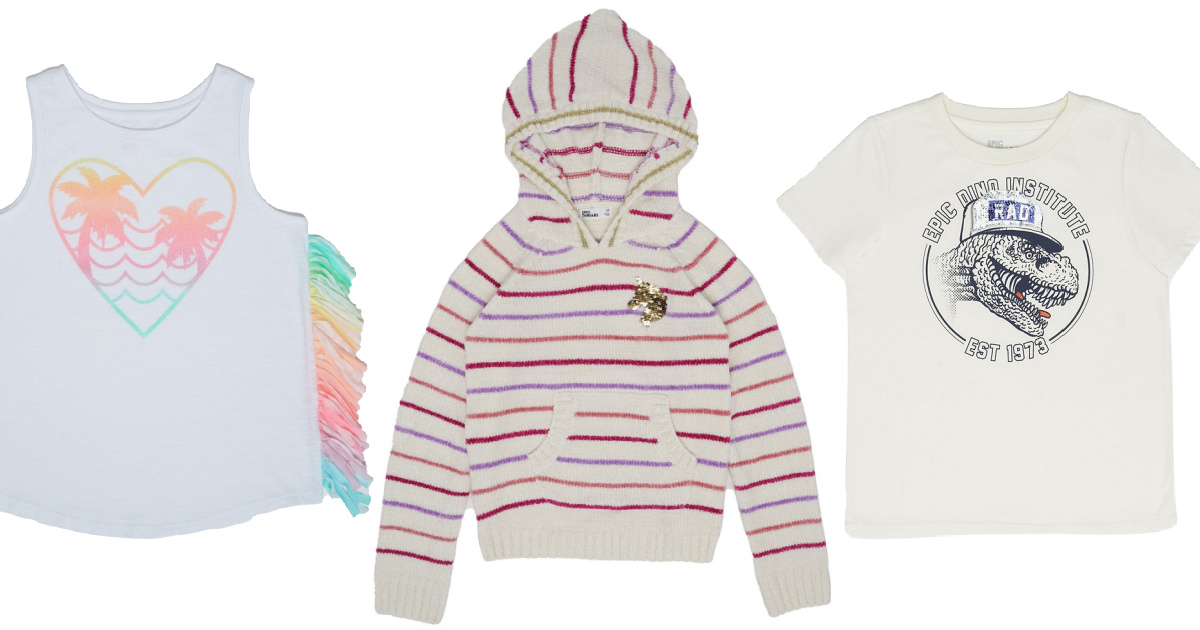 girls fringe tank, girls pink and ivory striped unicorn hoodie, and boys dinosaur graphic tee
