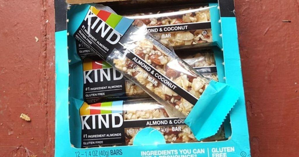 Open box of Kind Almond & Coconut Bars