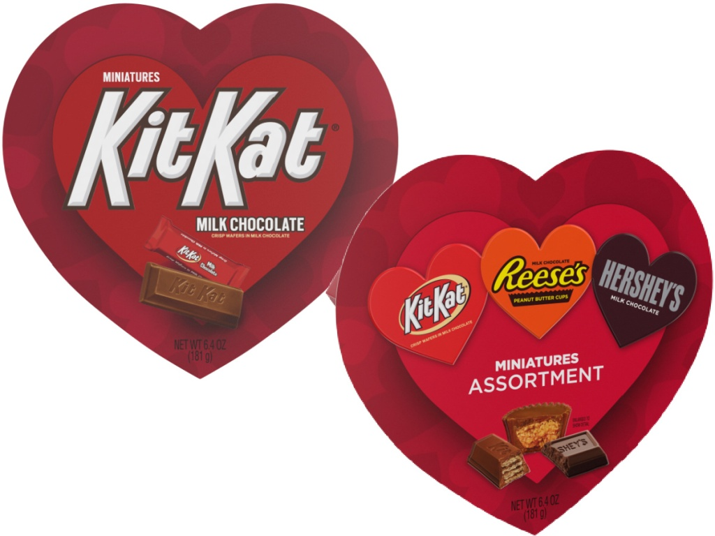 Kit Kat Miniatures Candy Valentine's Heart Box and Hershey Miniatures Assorted Heart Gift Box