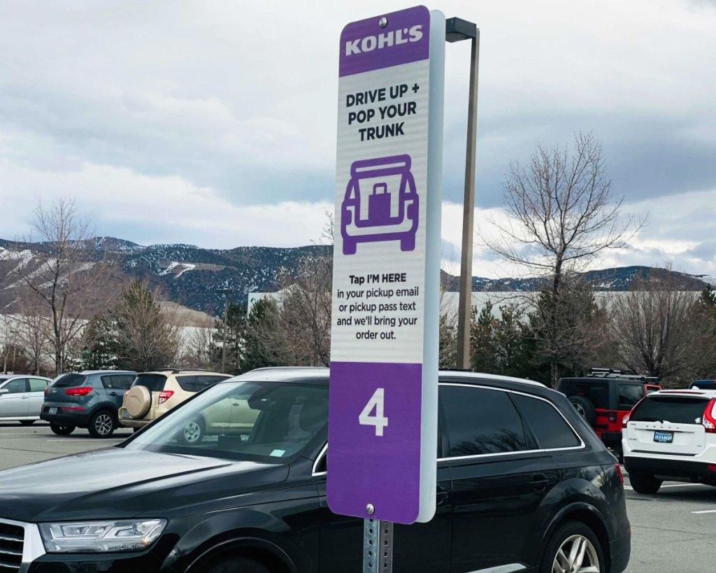 kohls curbside pickup sign in parking lot
