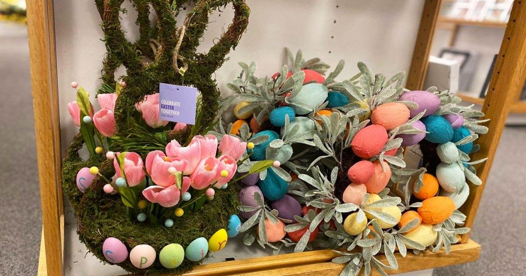 easter wreaths on display at kohls