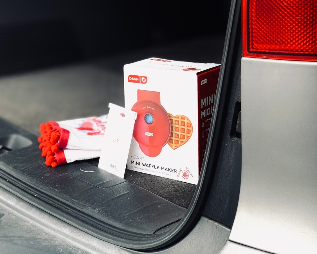 Valentine's themed products in a car trunk