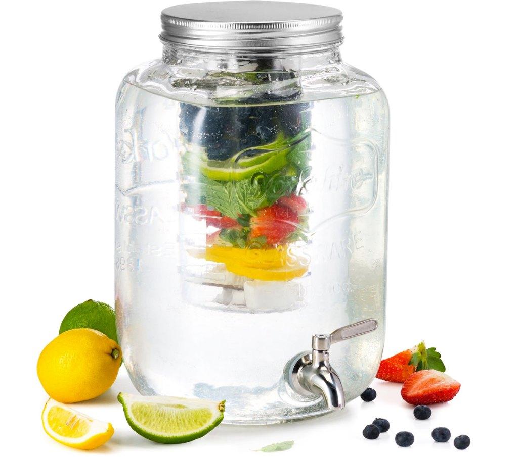 glass beverage dispenser with fruit infuser inside of it