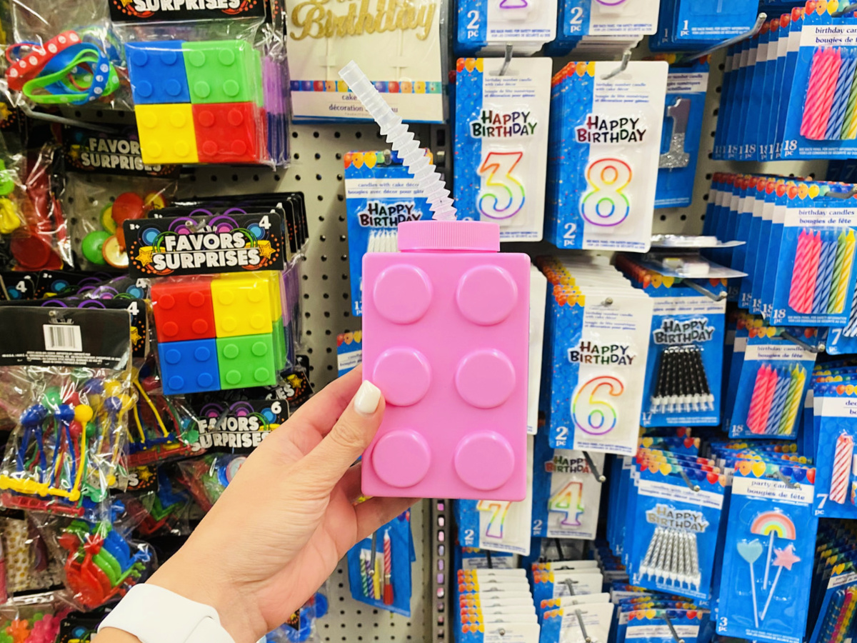 Pink LEGO Block Drinking Cups with Straw