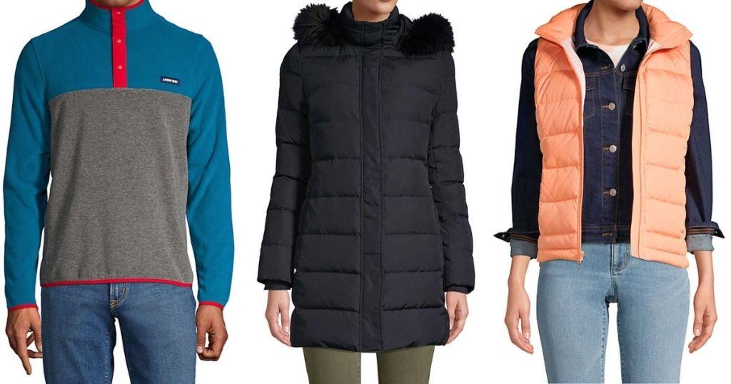 three people wearing winter outerwear