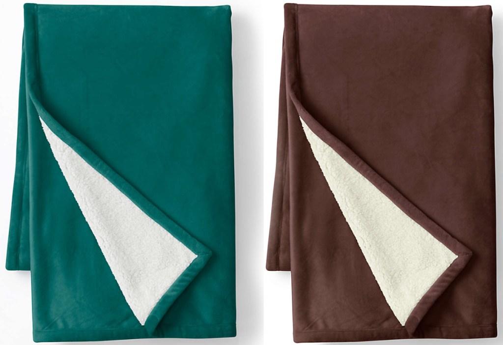 Lands' End brand fleece throw blankets folded
