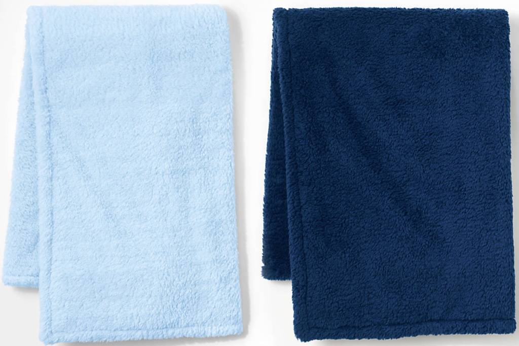 Lands' End brand fleece blankets in two shades of blue