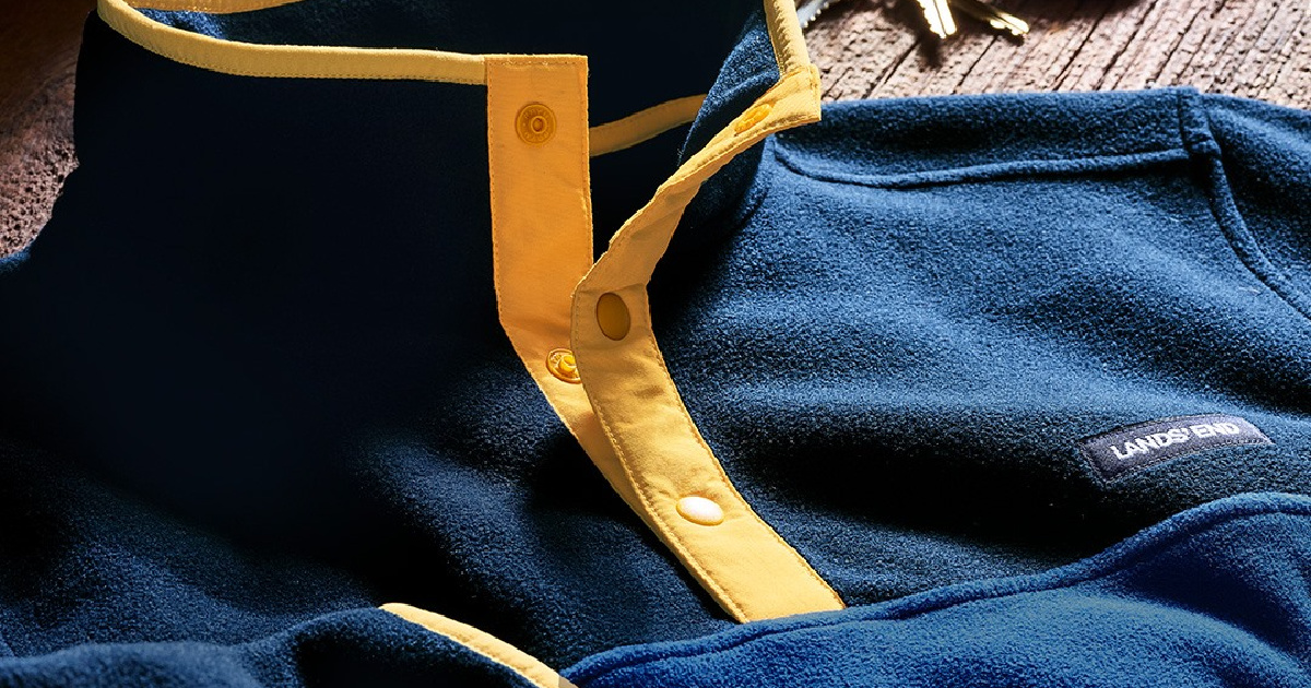 lands end blue and yellow fleece pullover