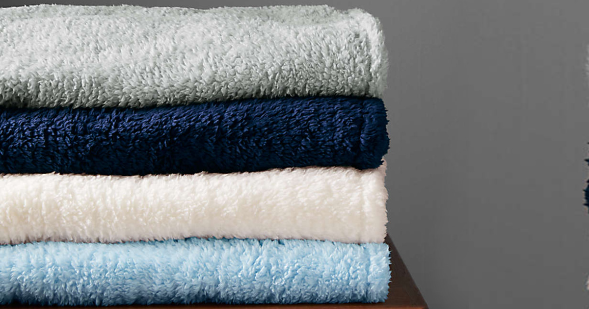 Lands' End brand throw blankets folded and stacked