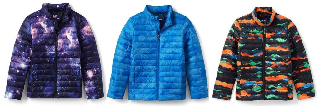 3 colors of Lands End ThermoPlume Jacket