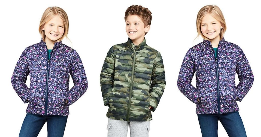 boy and girls wearing Lands End ThermoPlume Kids Jacket