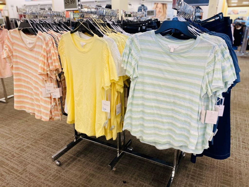 women's shirts on hangers at Kohl's