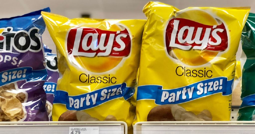 two bags of yellow chips on shelf