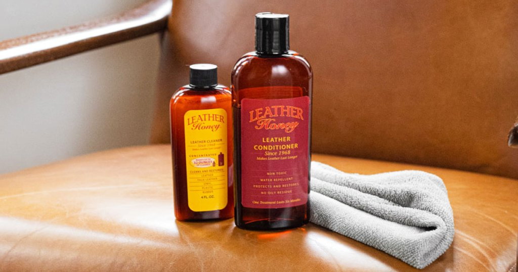 bottles of leather honey on a leather chair