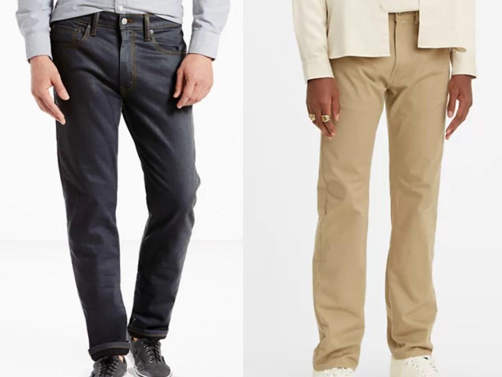 2 men wearing levi's jeans