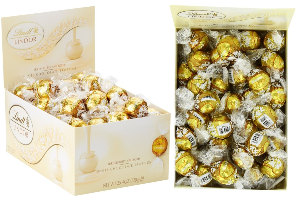 Lindt LINDOR White Chocolate Truffles 60-Count Box