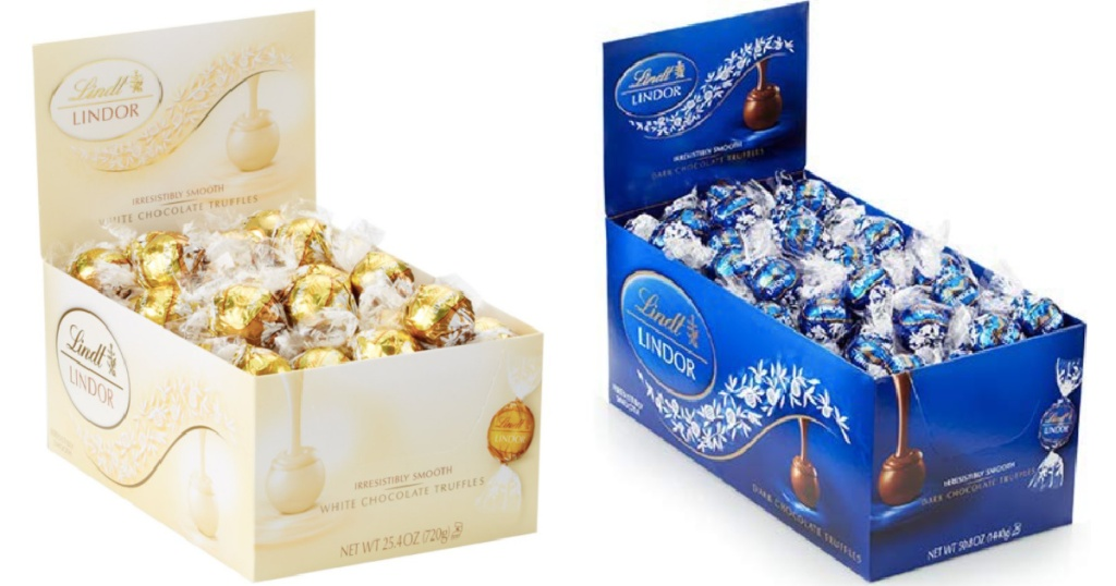 lindt lindor truffle chocolates in white and blue packs