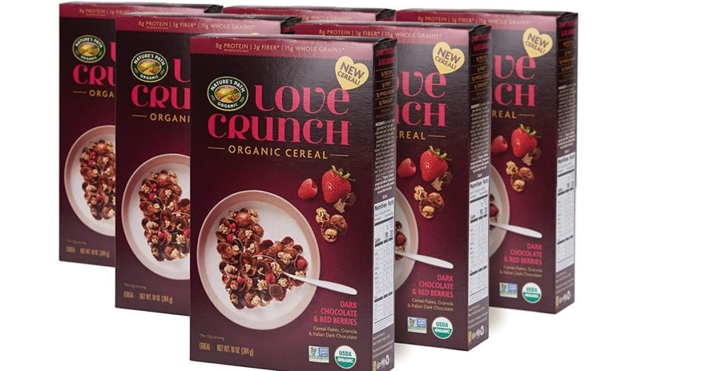 six boxes of organic love crunch cereal
