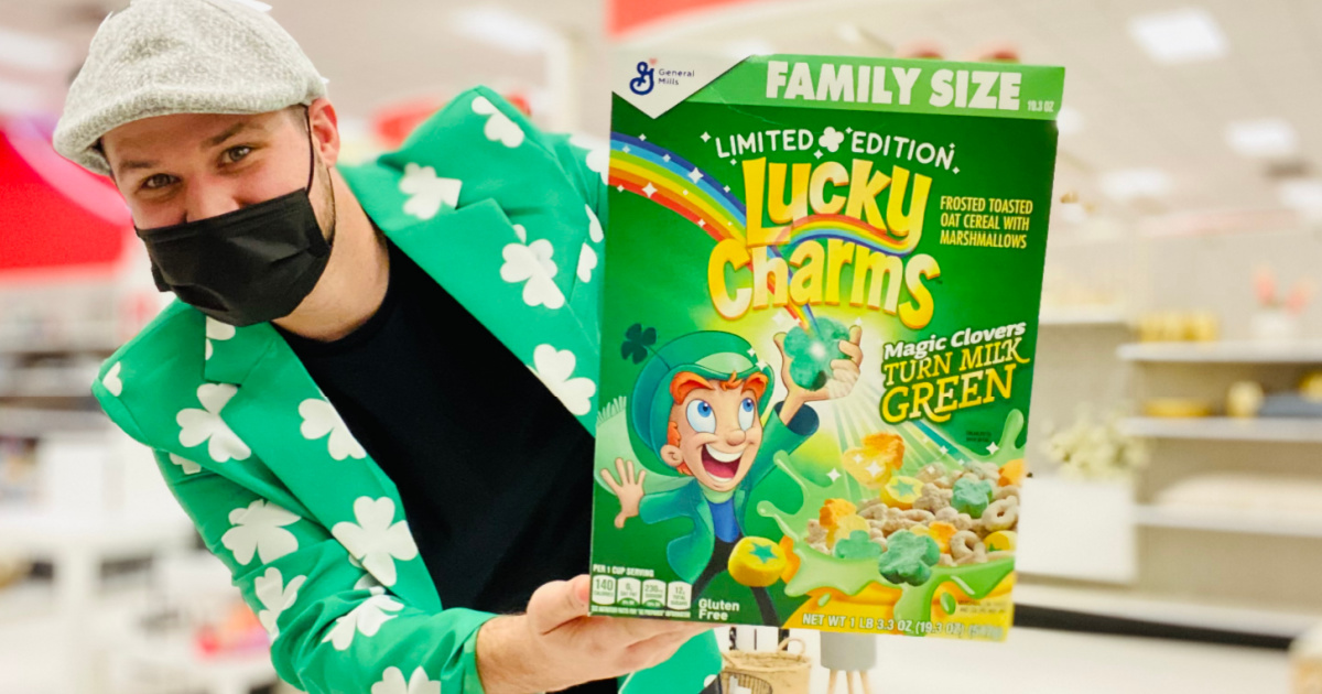 Man in St Patrick's day tux holding Lucky Charms cereal