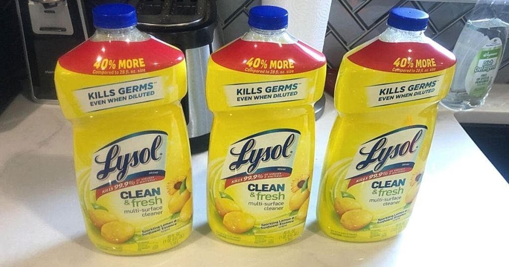 3 bottles of Lysol clean & fresh multi-surface cleaners