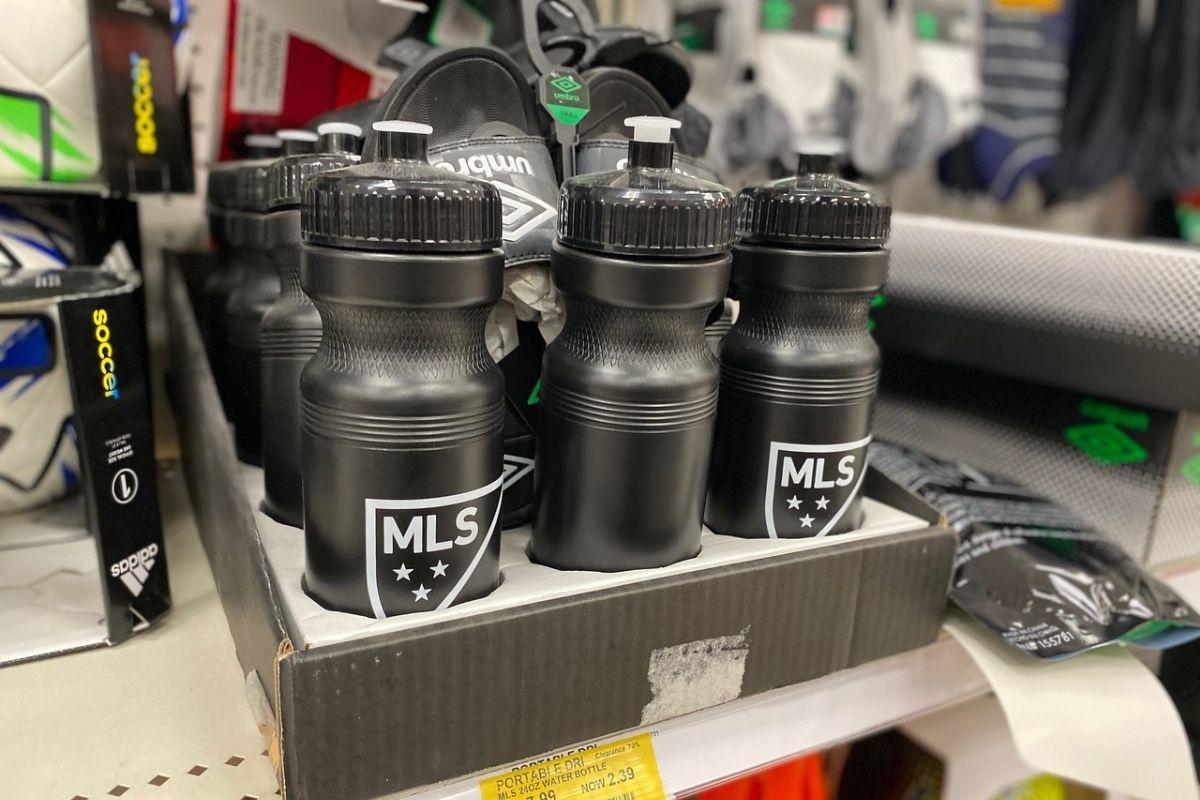 MLS Water Bottles on shelf