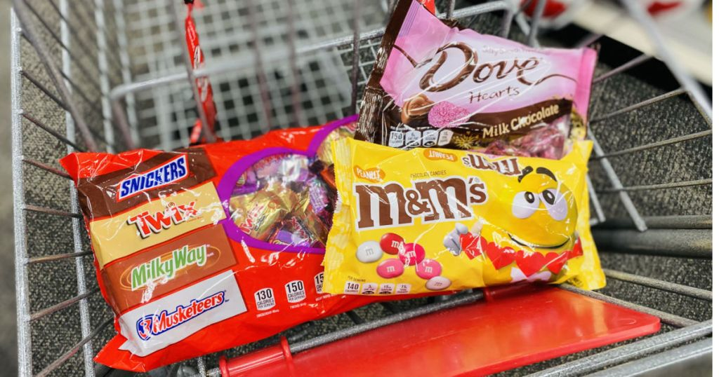 various chocolate bags in cart