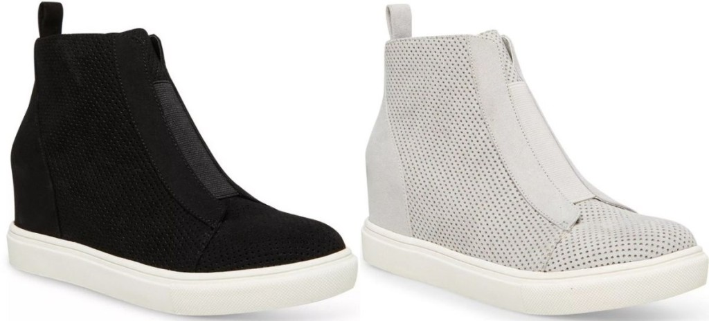 two pairs of wedge sneakers