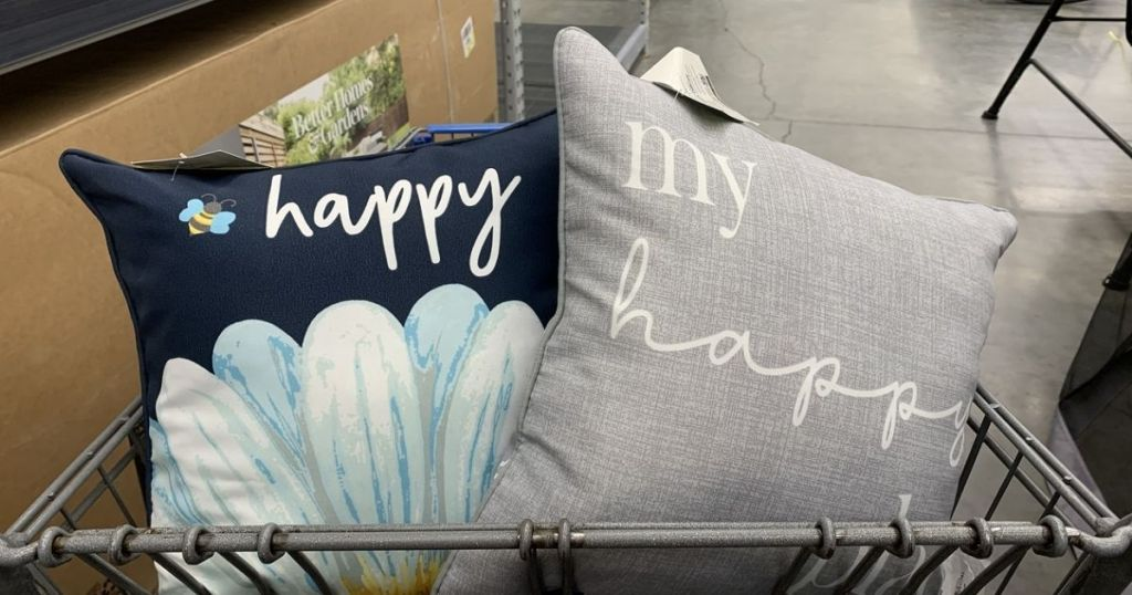 blue and gray Mainstays $5 Pillows in cart