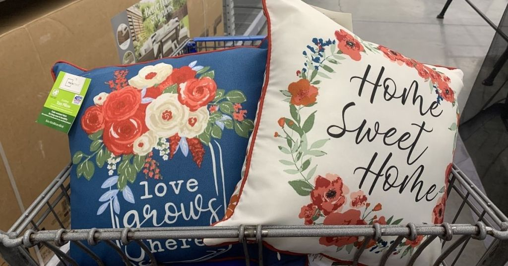 Mainstays Love GRows HEre and Home Sweet Home Pillows in Cart