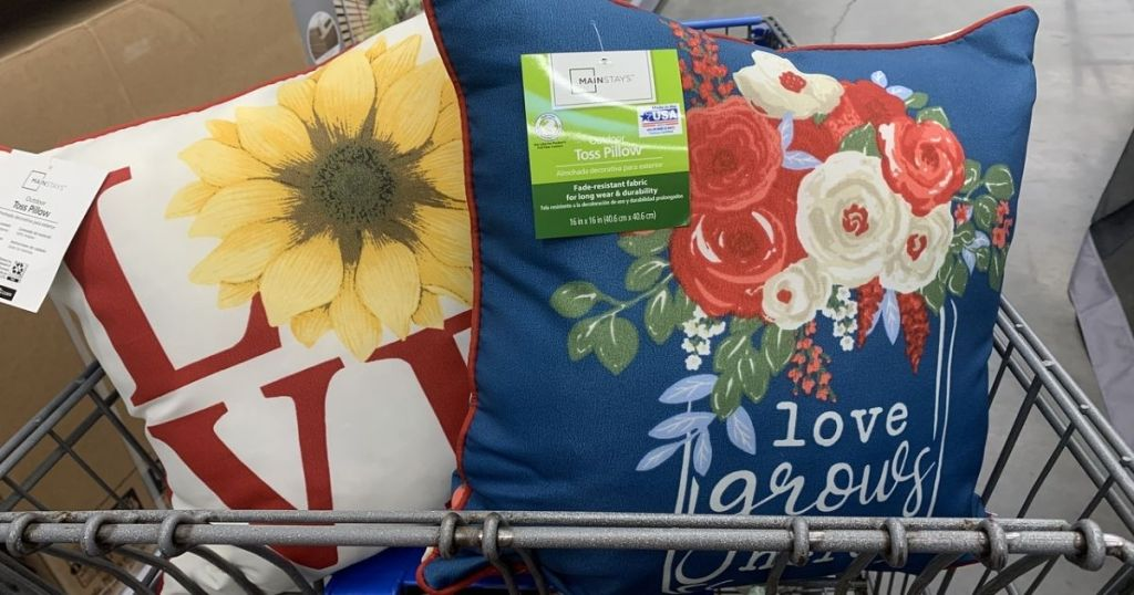 2 Mainstays Love GRows HEre and Love Pillows in Cart