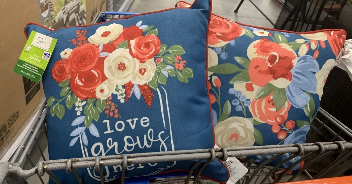 Mainstays Love GRows HEre and floral pillows in cart