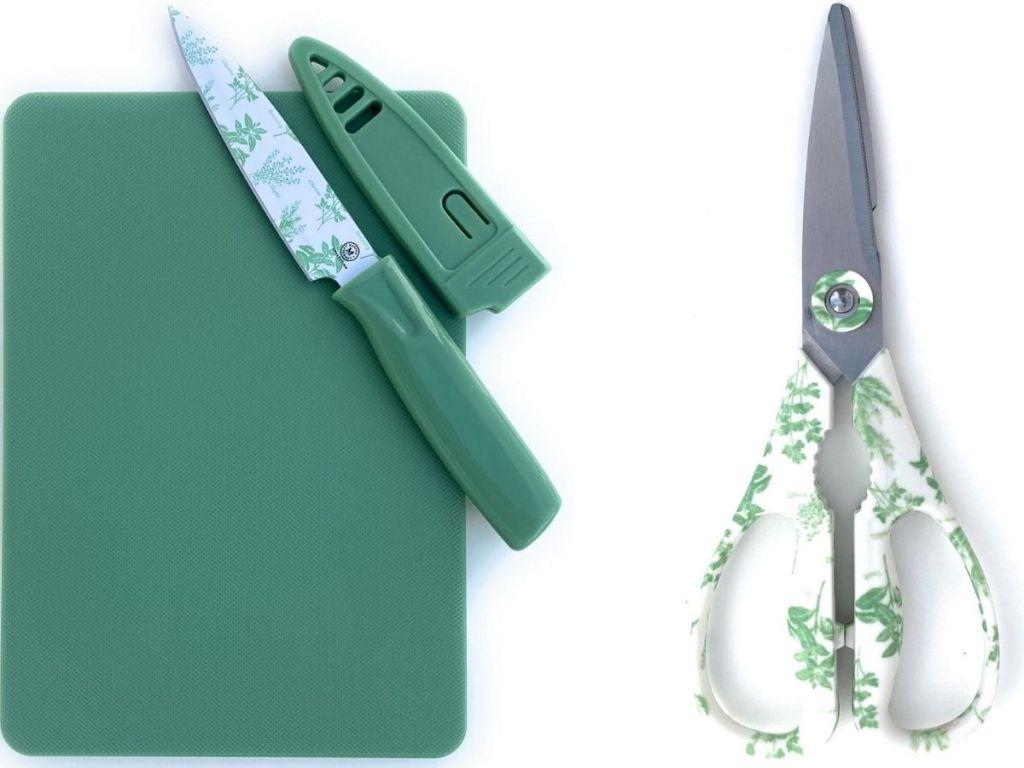 Martha Stewart Mini cutting Board and Knife Set with matching Kitchen Shears