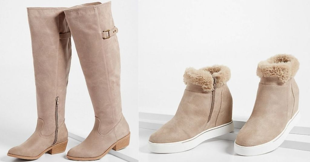 tall pair of boots and a pair of wedge sneakers
