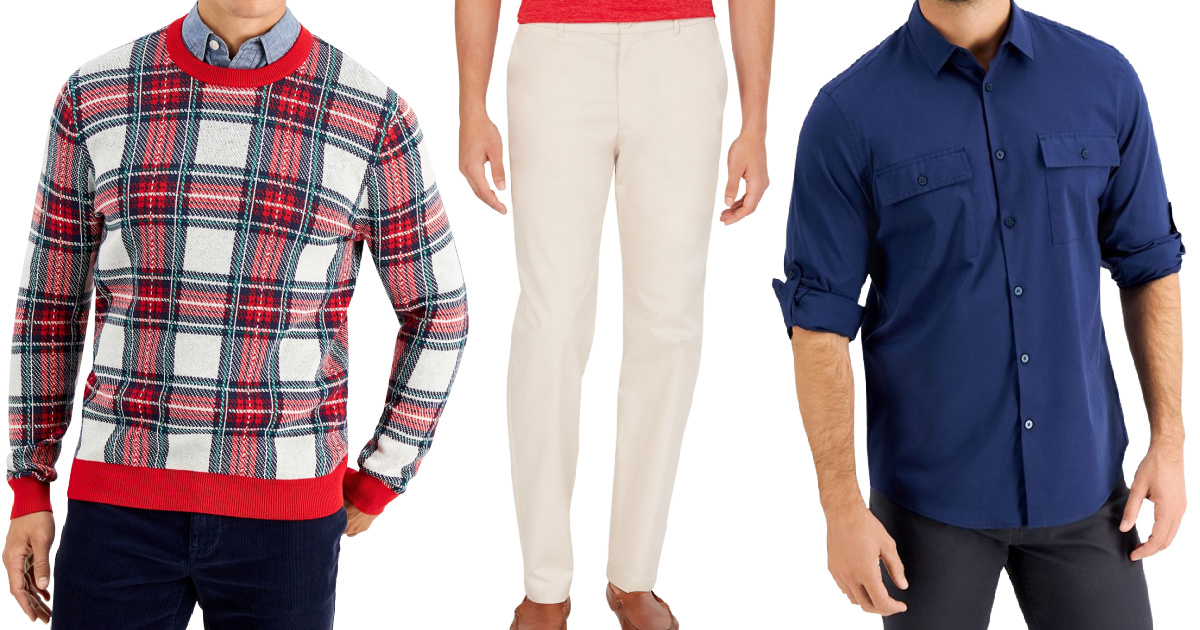 three stock images of men wearing a sweater pants and a shirt