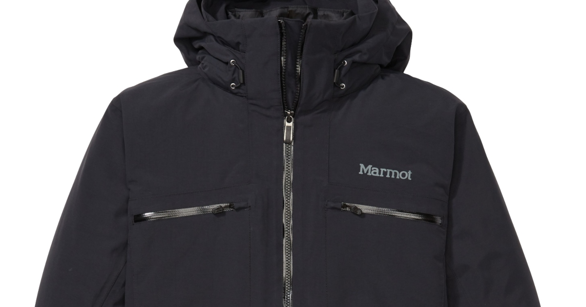 Close up of the top portion of a Men's Marmot Jacket. it is black and fully zipped up with a hood