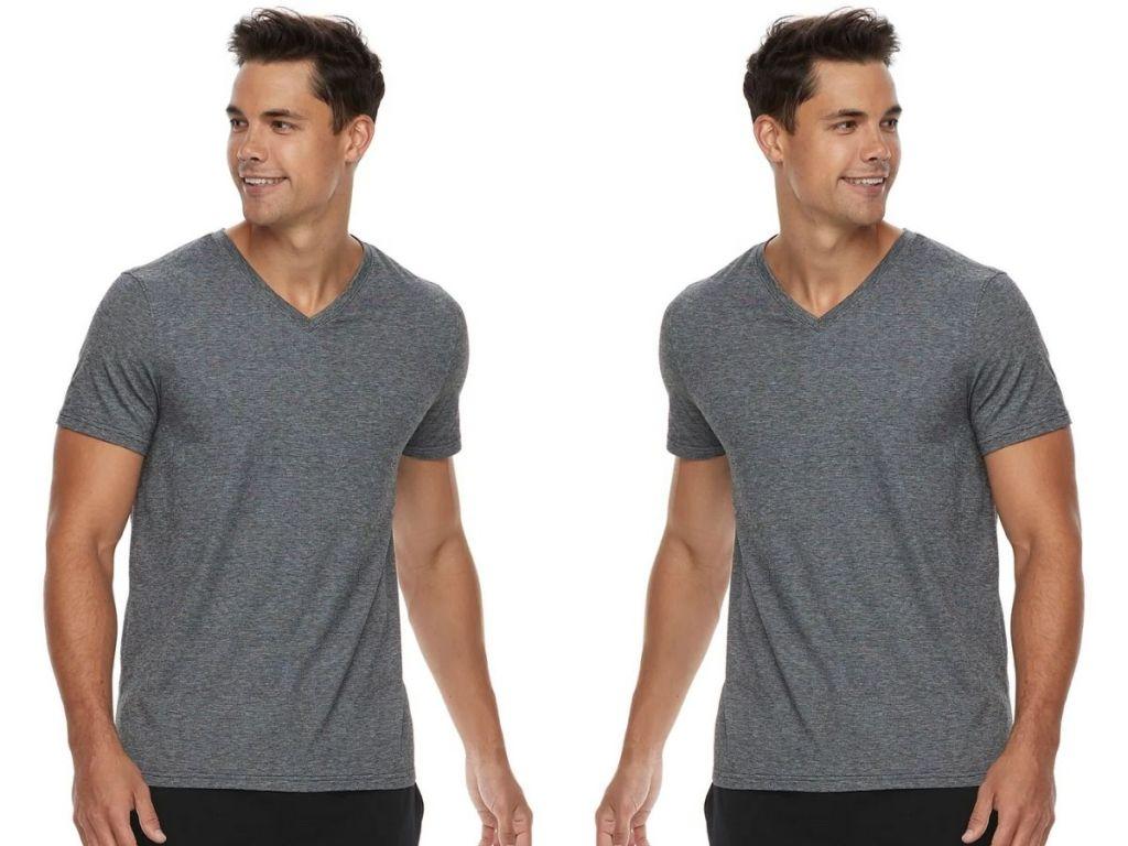 2 views of Mens V-Neck Gray Tee