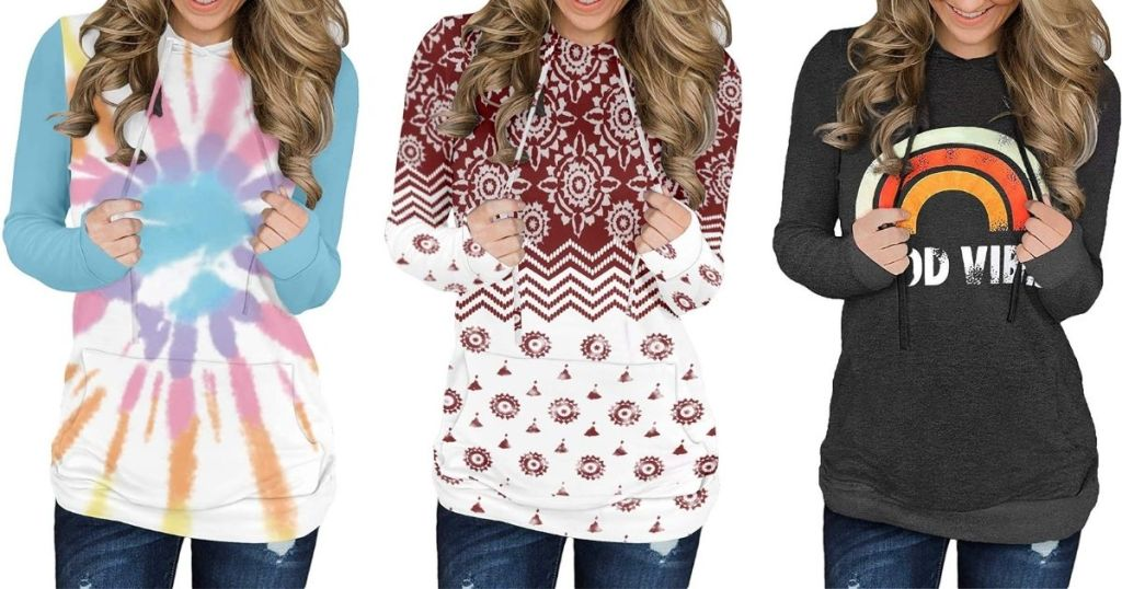 three women wearing sweatshirts